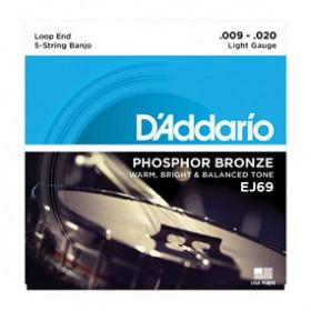 D'addario Phosphor Bronze Banjo 5-string 009 J-69