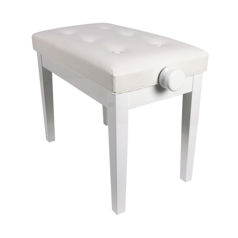 Piano Bench White Luxe Model Adjustable Gloss KY102-17